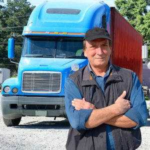 Confident truck driver